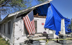 Route 66 2014 Baxter Springs Tornado House with US Flag