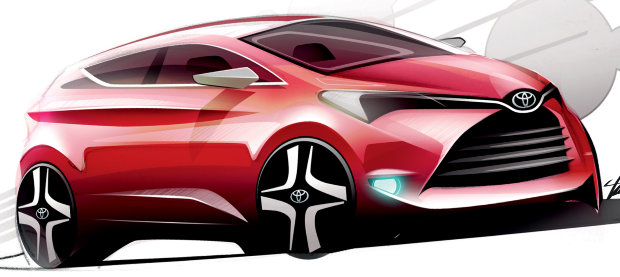 Toyota Yaris 2014 Concept Sketch 620x277